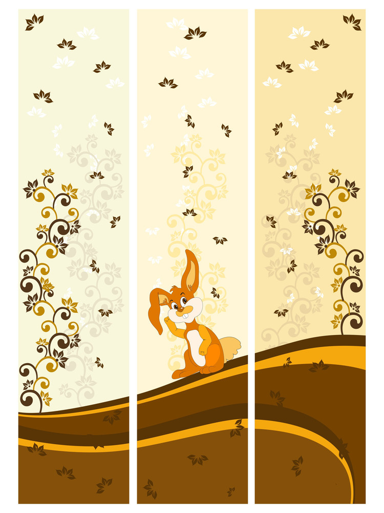 Vector Set Of Three Floral Pattern Banner