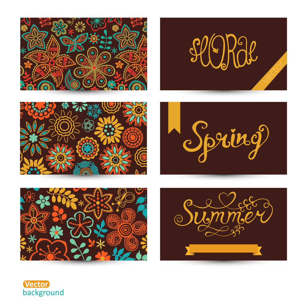 Vector Set Of Three Horizontal Business Cards. Summer Banners. Floral Pattern. Vector Set Of Colorful Floral Ornament Cards. Cute Lettering. Place Your Info On The Back.