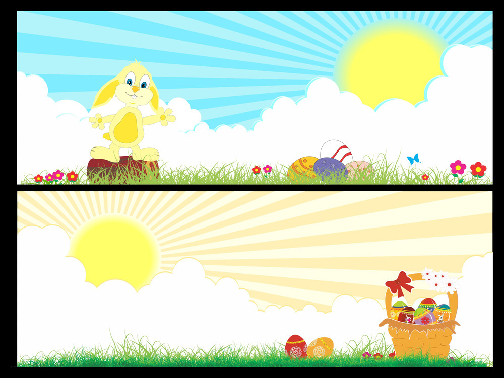 Vector Set Of Two Banner For Easter Day