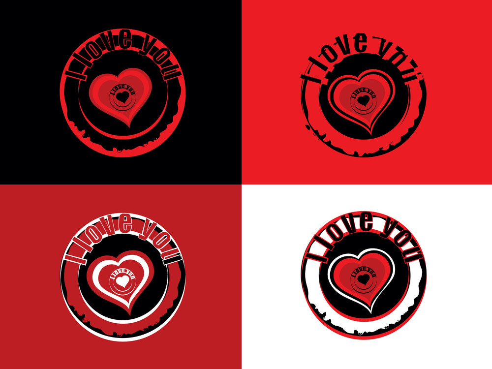 Vector Set Of Valentine Day Stamp