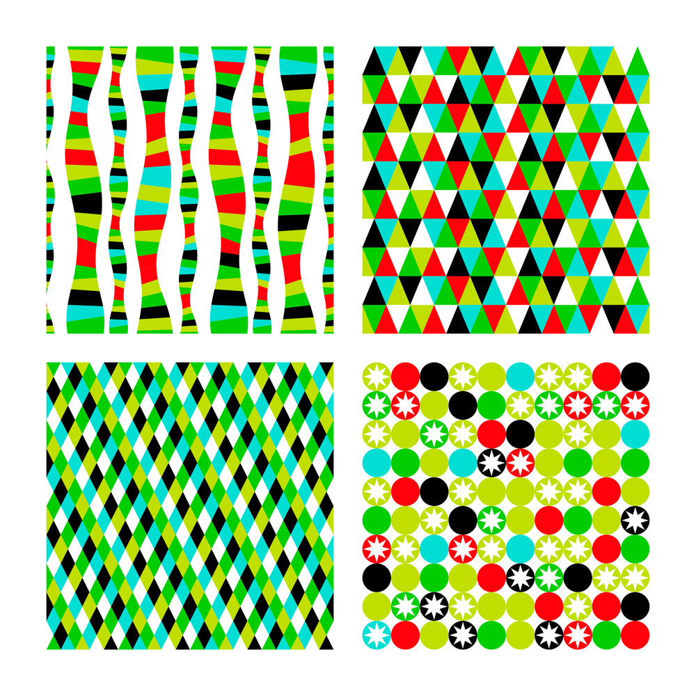Vector Set Pattern Of Four Geometric Shapes. Colorful Mosaic Banners. Geometric Hipster Retro Background With Place For Your Text. Retro Triangle Background. Set Of Four Geometric Templates.