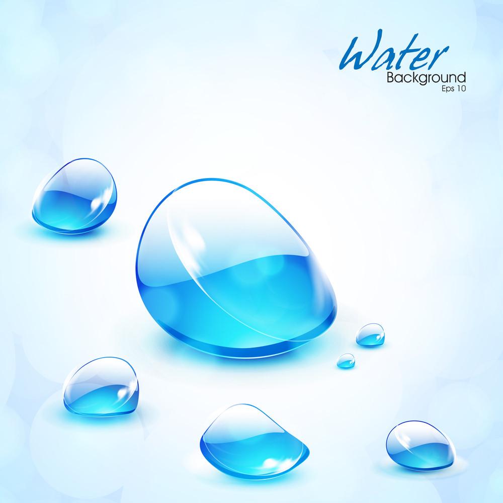 Vector Shiny Water Drops.
