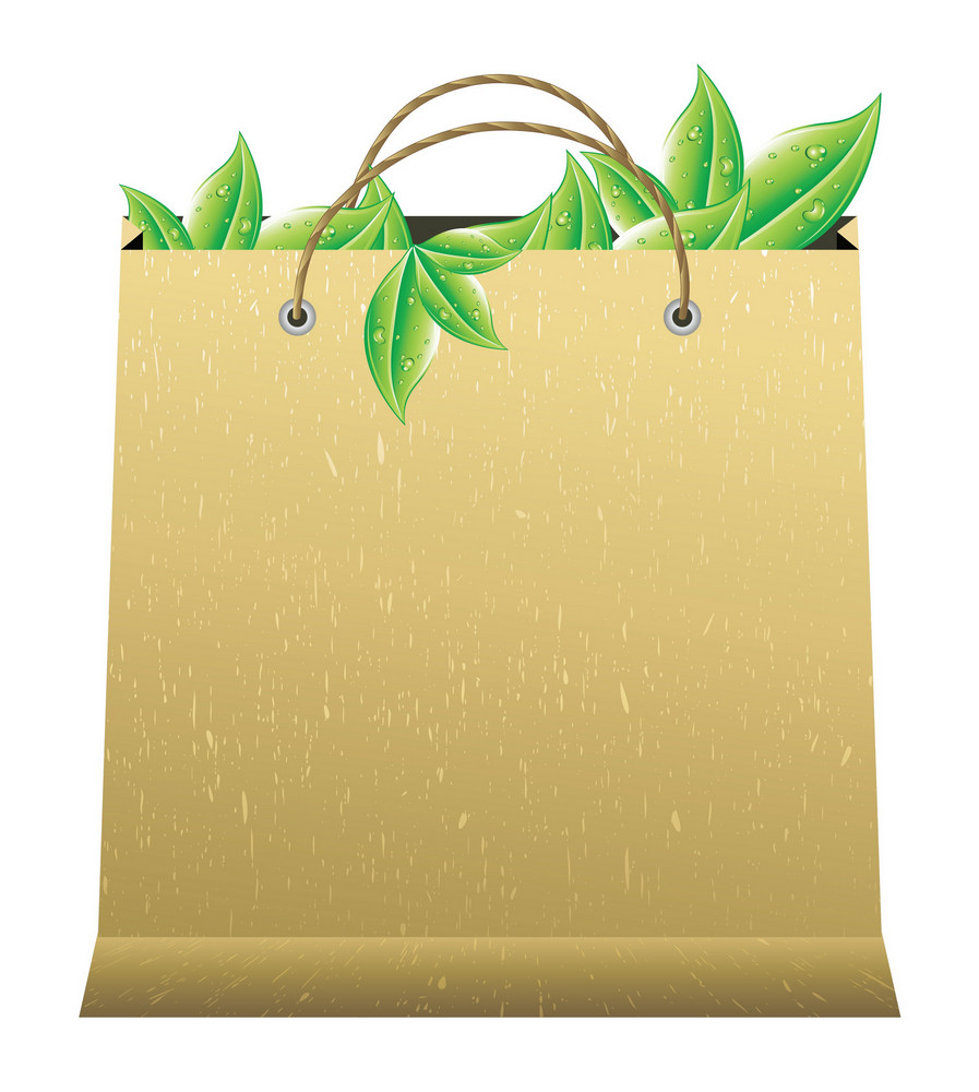 Vector Shopping Bag With Leaves