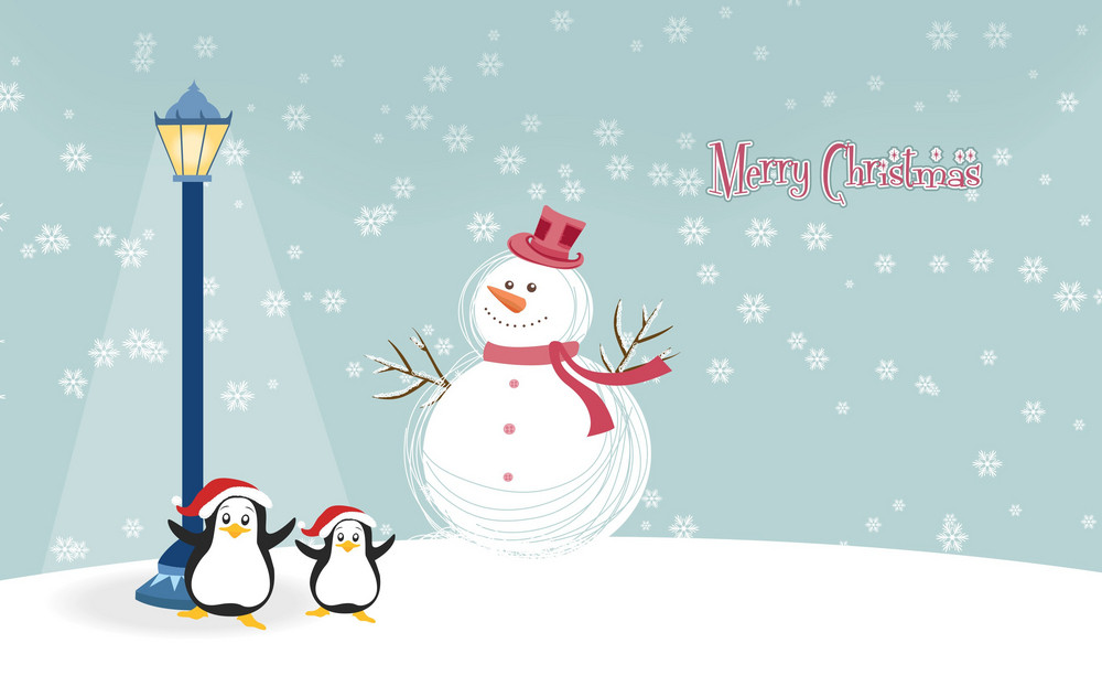 Vector Snowman With Penguins