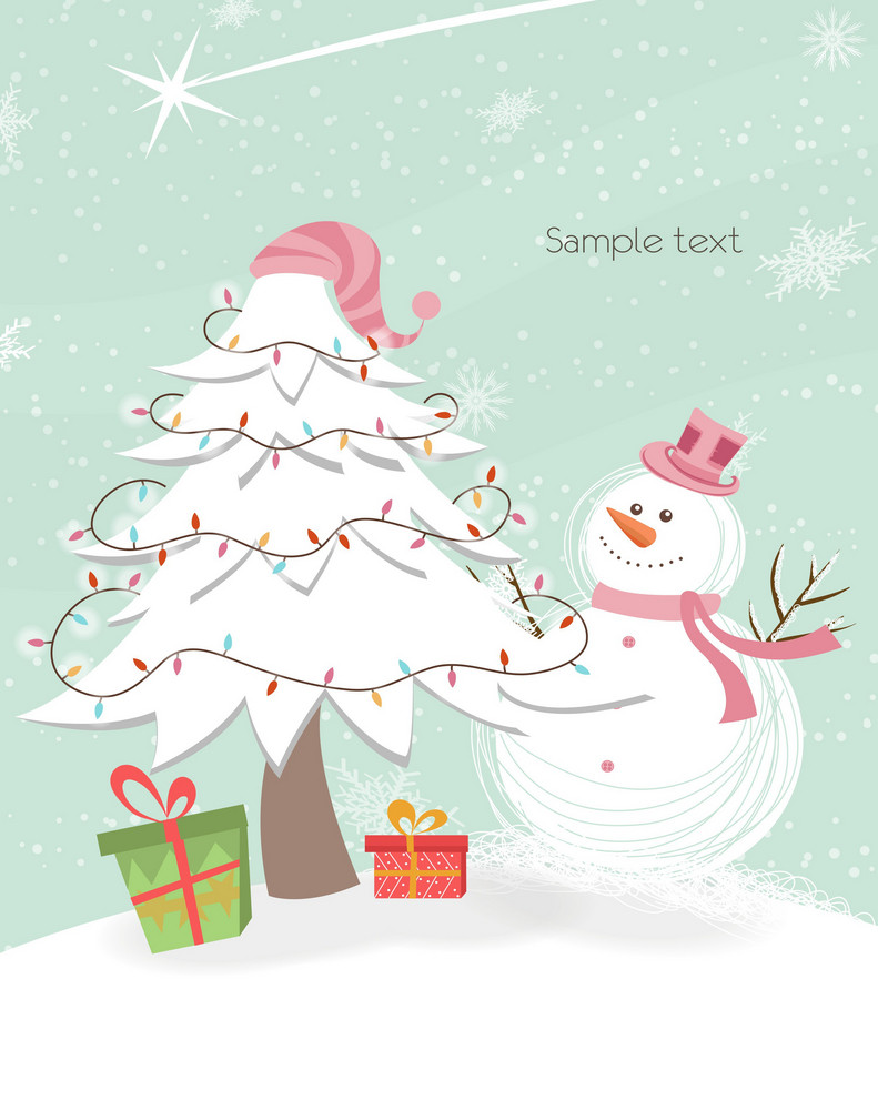 Vector Snowman With Tree