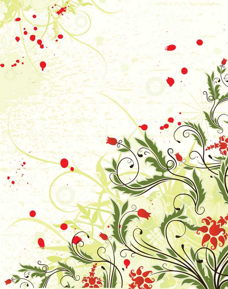 Vector Spring Grunge Floral Background