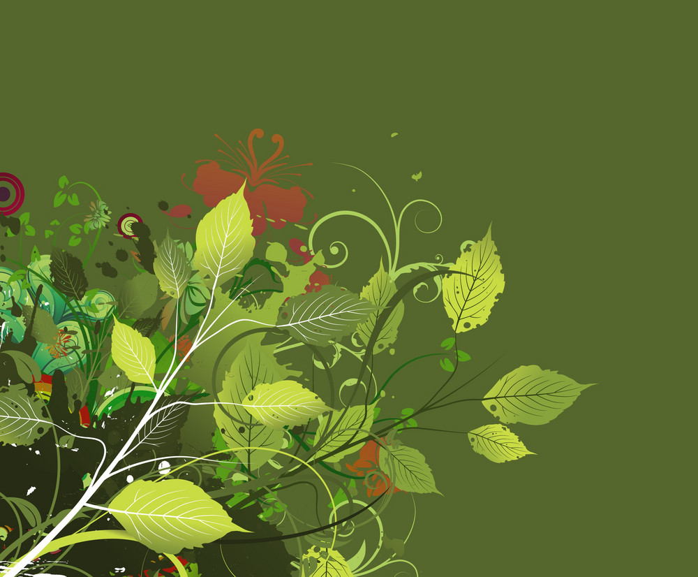 Vector Spring Grunge Floral Background
