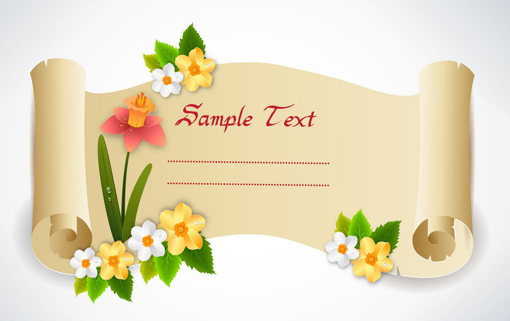 Vector Spring Scroll With Floral