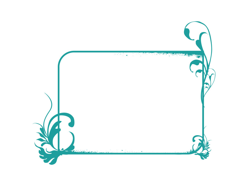 Vector Squire Frame With Elements And Flowers Background In Green