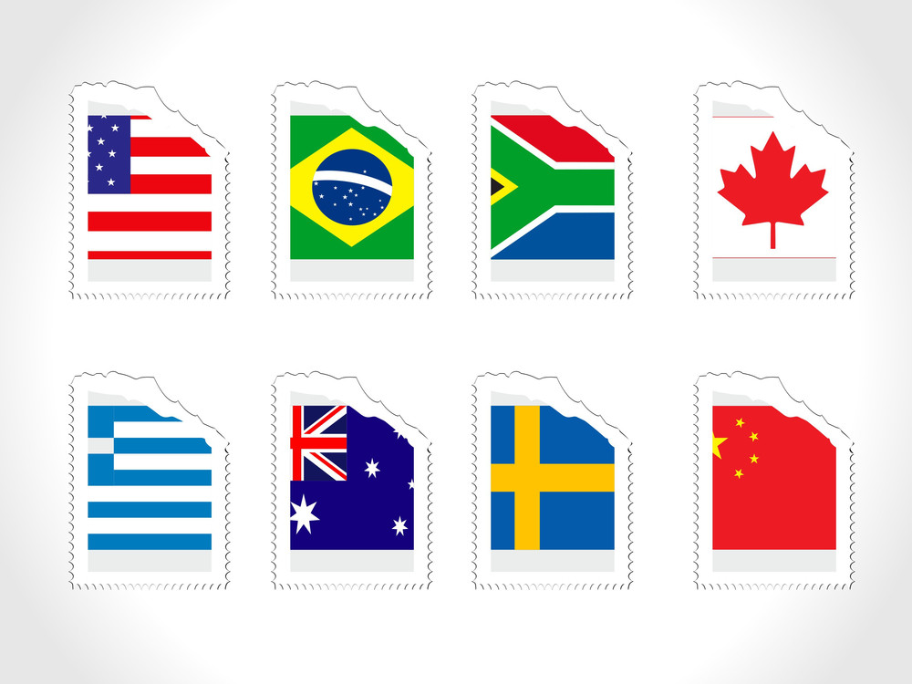 Vector Stamp With World Flag