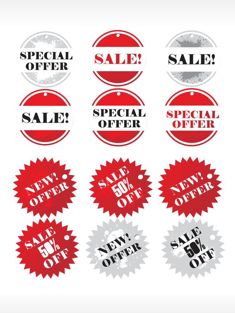 Vector Stars For Discount Prices With Text In Different Layer