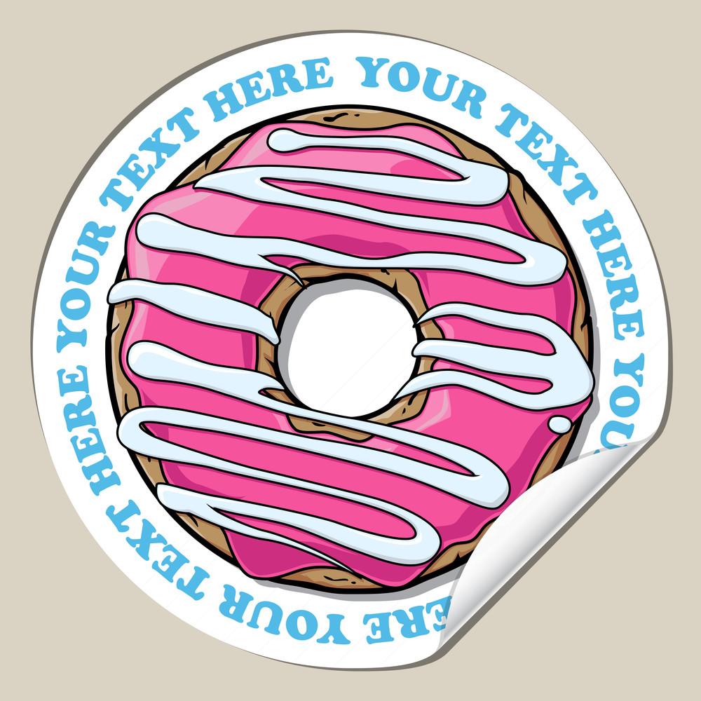 Vector Sticker With Cartoon Donut.