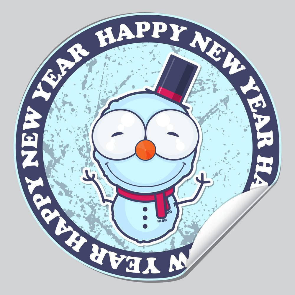 Vector Sticker With Cartoon Snowman.