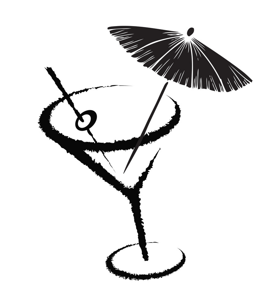 Vector Stylized Cocktail Glass With Umbrella