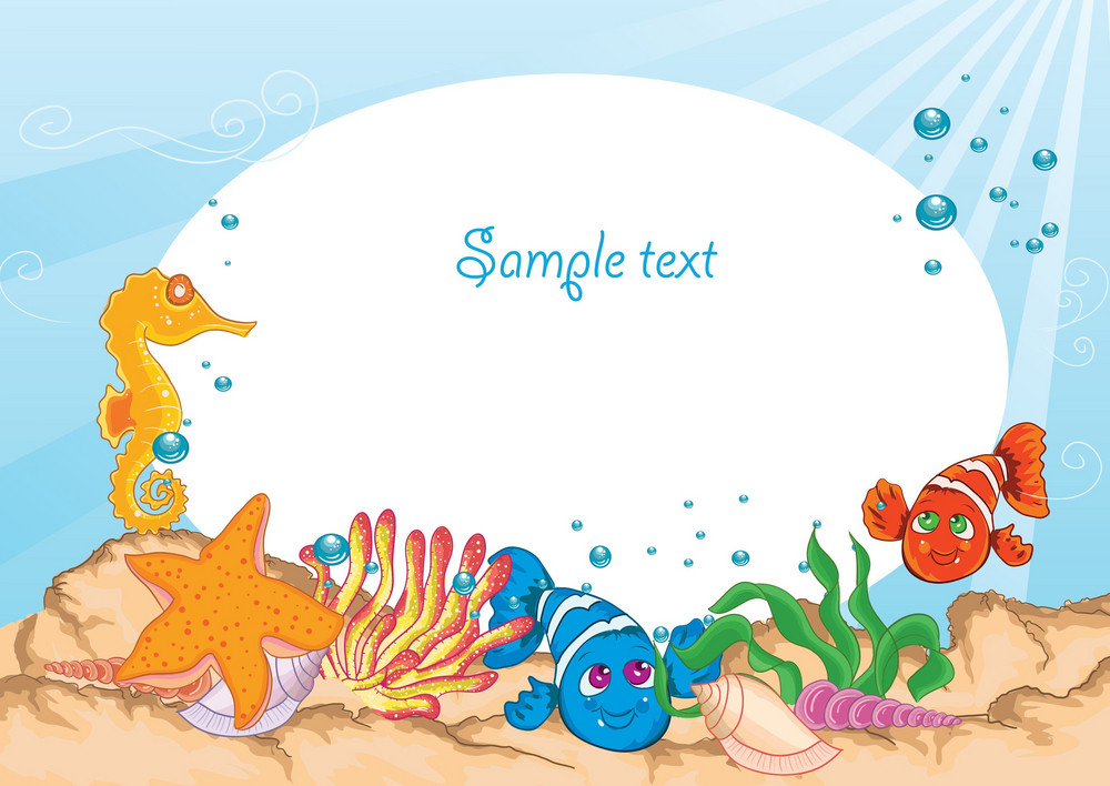 Vector Summer Background With Sea Creatures