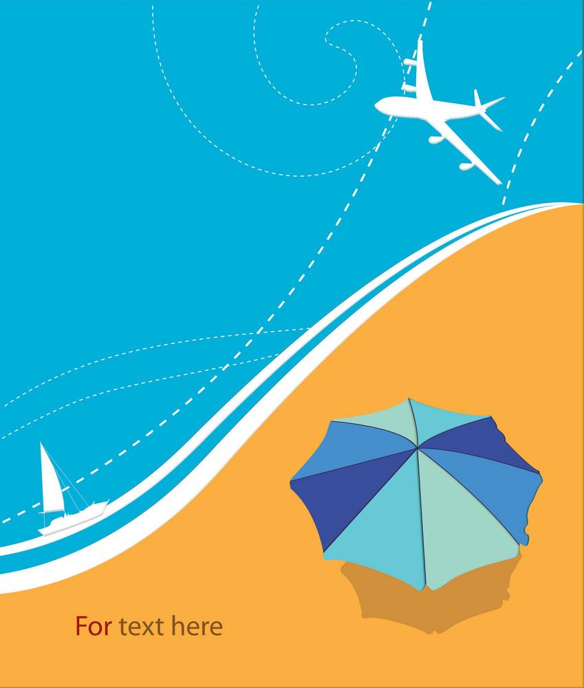 Vector Summer Background With Umbrella