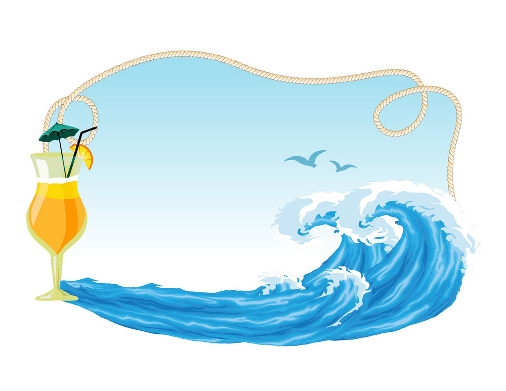 Vector Summer Frame With Waves