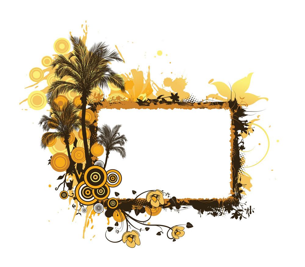 Vector Summer Grunge Floral Frame