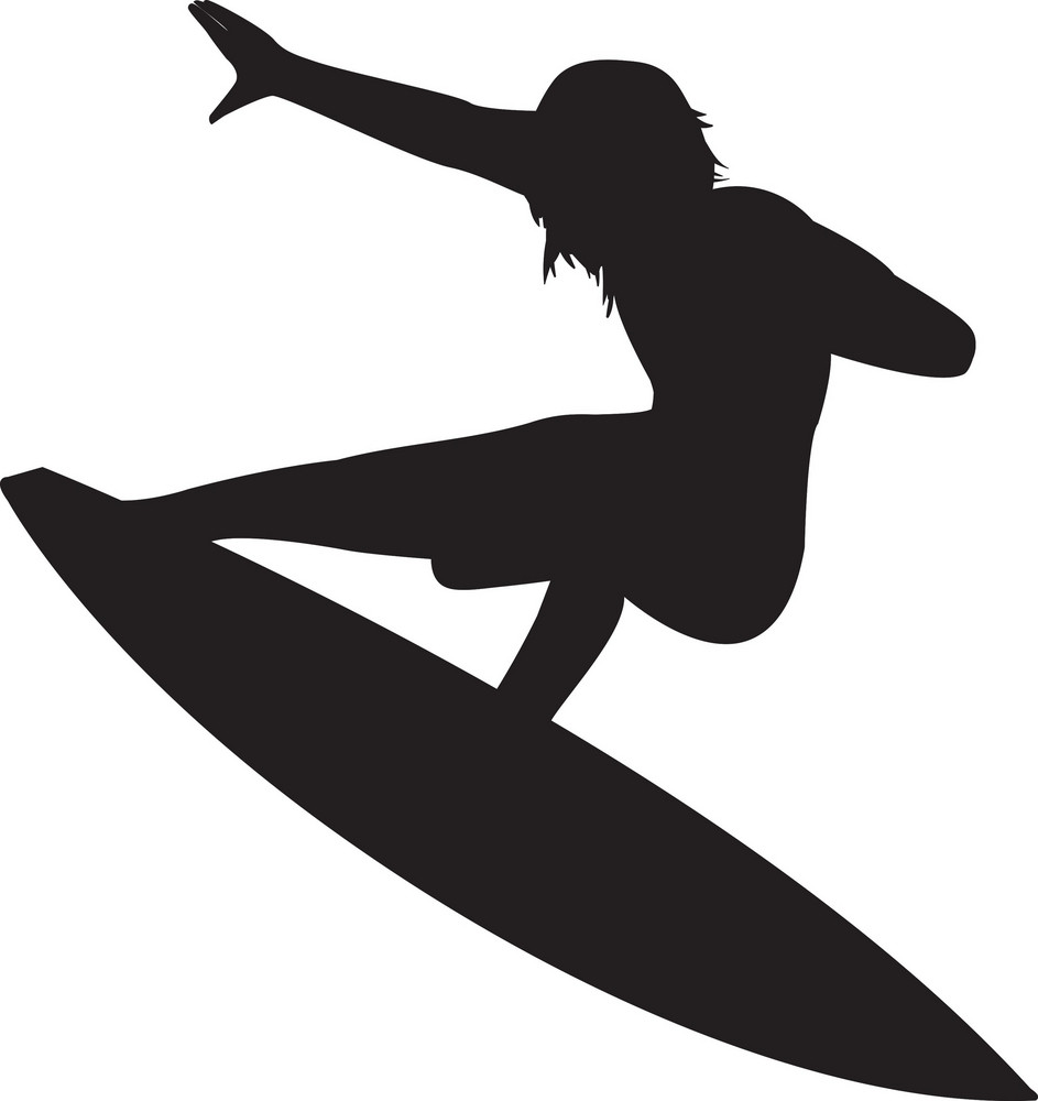 Vector Surfer Silhouette Royalty Free Stock Image