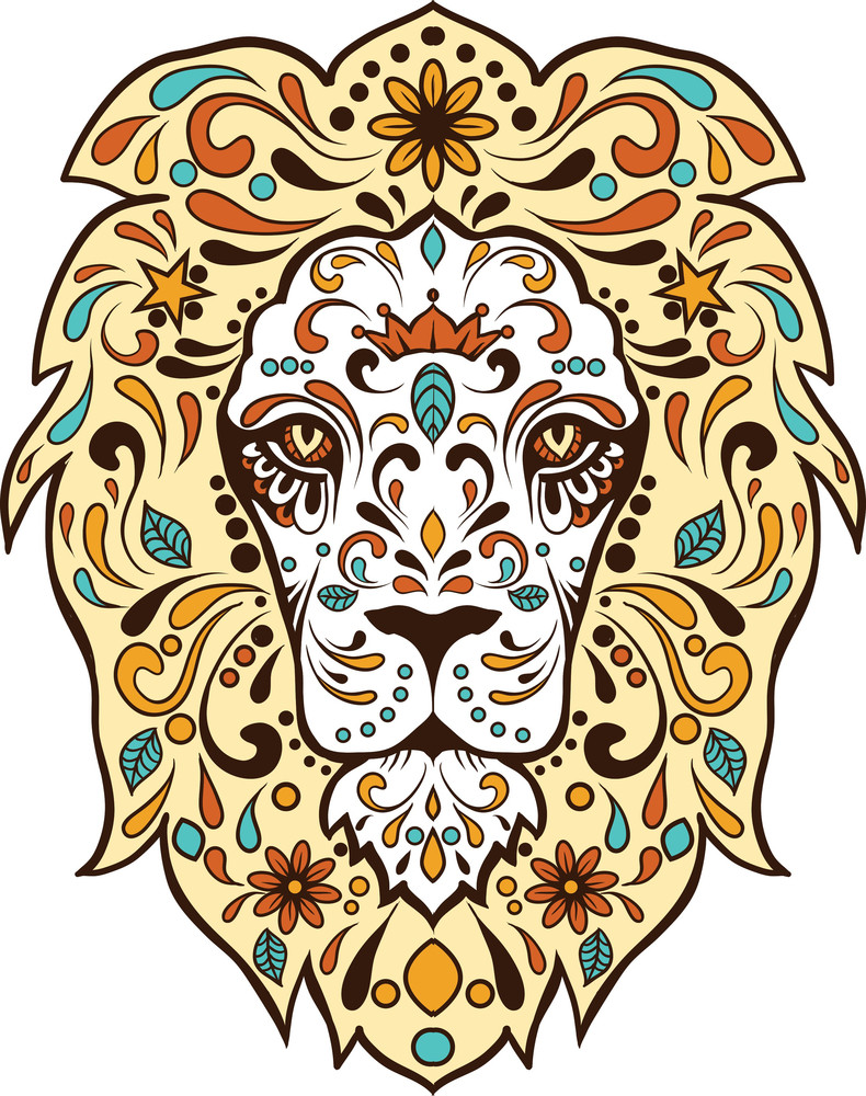 Vector T-shirt Design With Abstract Lion Face