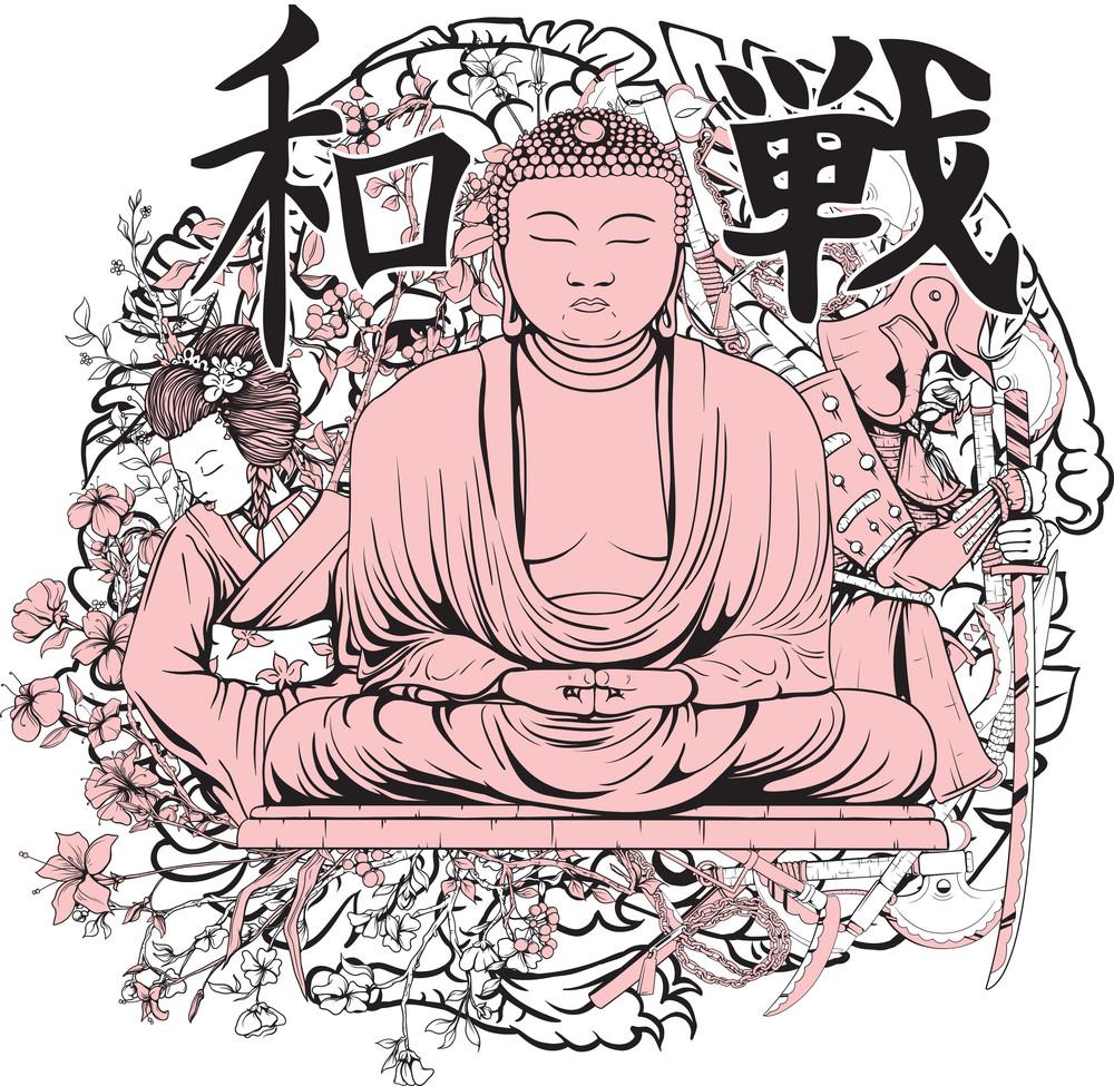 Vector T-shirt Design With Buddha