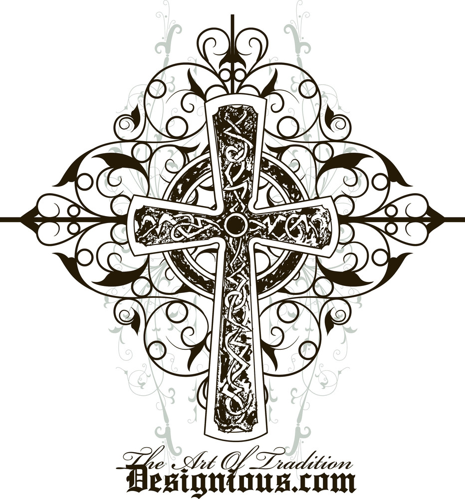Vector T-shirt Design With Cross