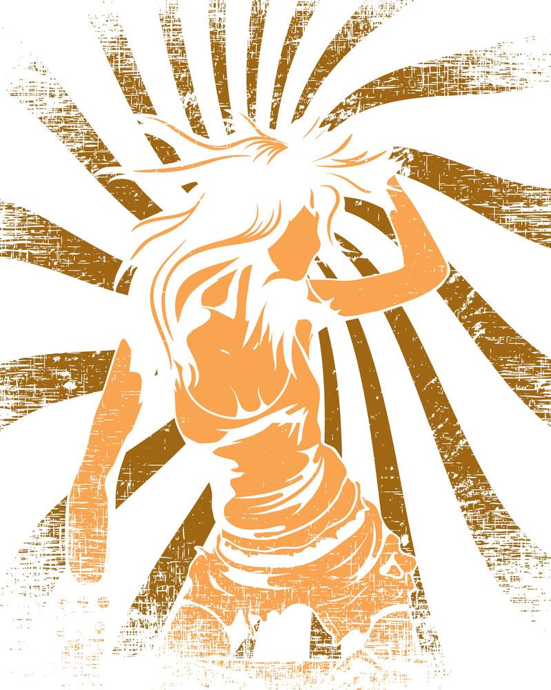 Vector T-shirt Design With Dancing Girl
