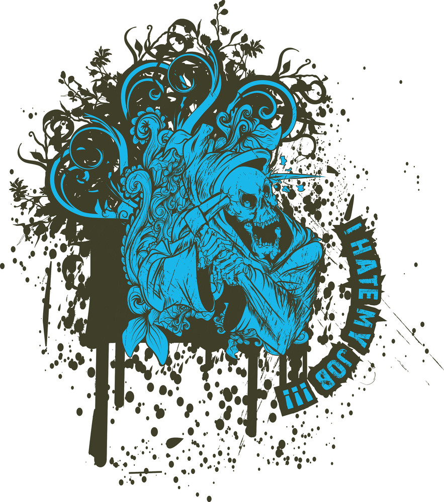 Vector T-shirt Design With Death And Grunge