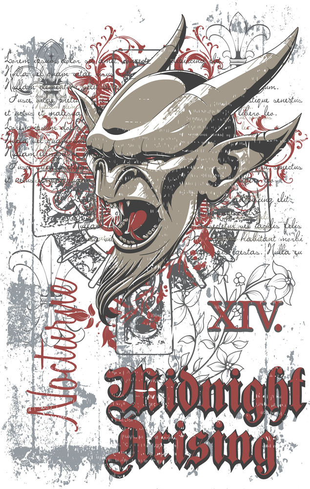 Vector T-shirt Design With Gargoyle Head