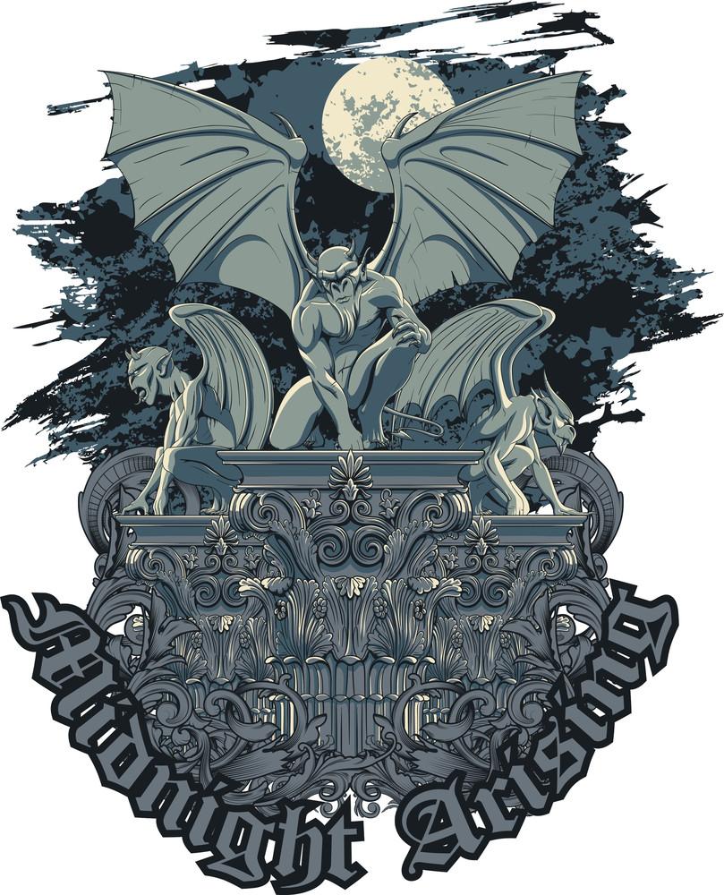 Vector T-shirt Design With Gargoyles