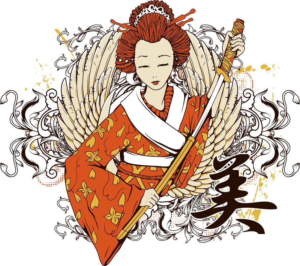 Vector T-shirt Design With Geisha