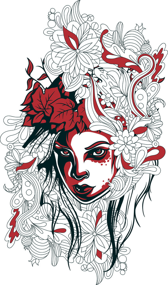 Vector T-shirt Design With Girl Face