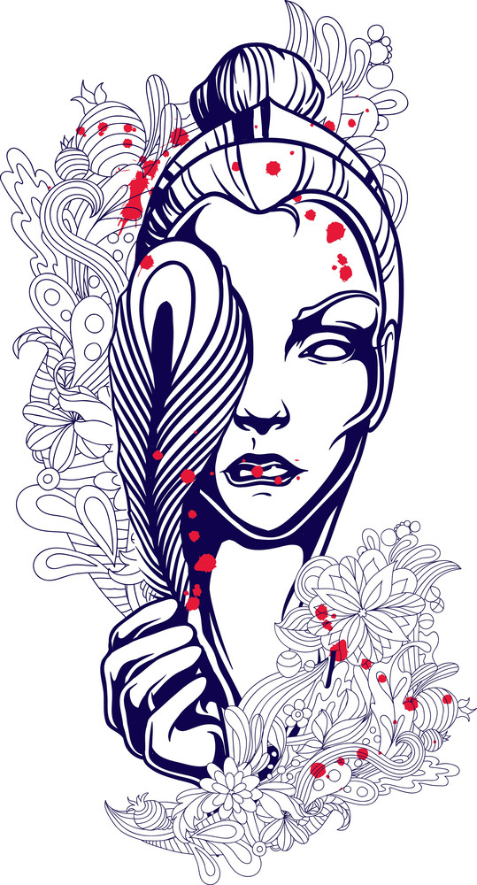 Vector T Shirt Design With Girl Face Royalty Free Stock Image
