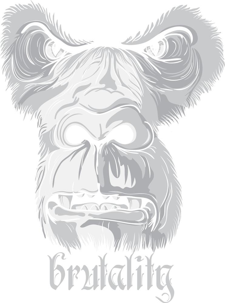 Vector T-shirt Design With Gorilla Face