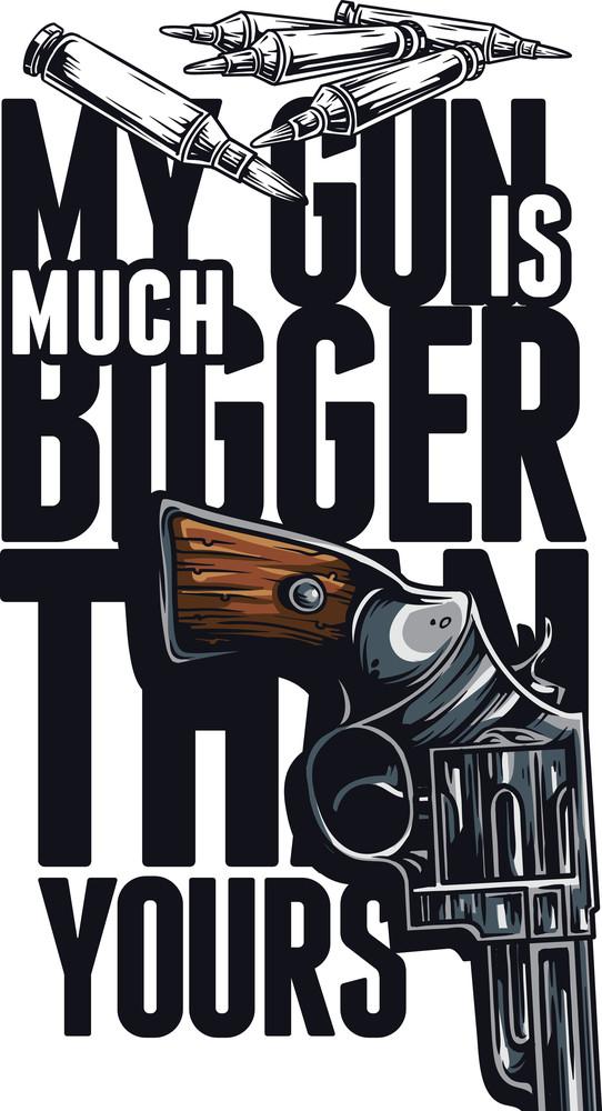 Vector T-shirt Design With Gun