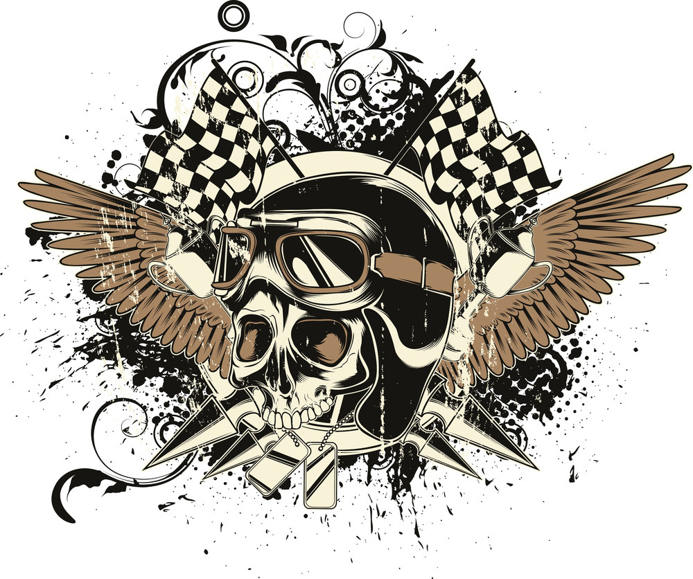 Vector T-shirt Design With Race Driver Skull