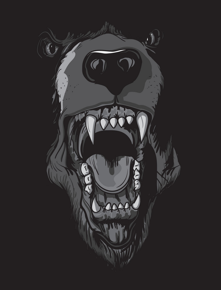 Vector T-shirt Design With Raging Bear