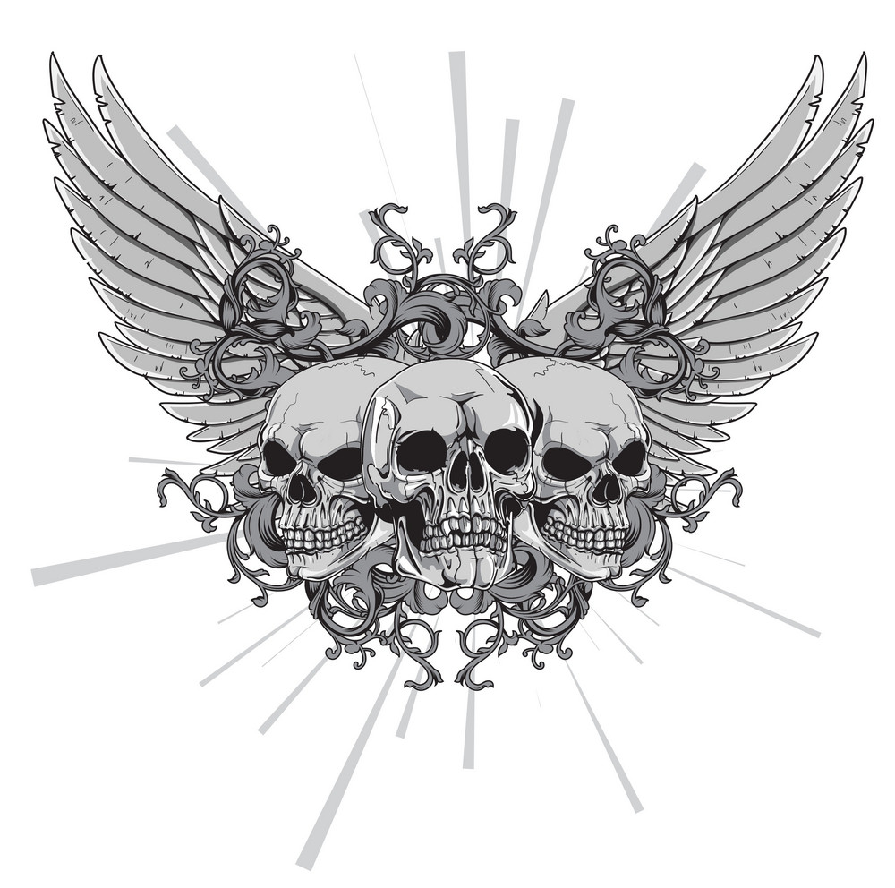 Vector T-shirt Design With Skulls