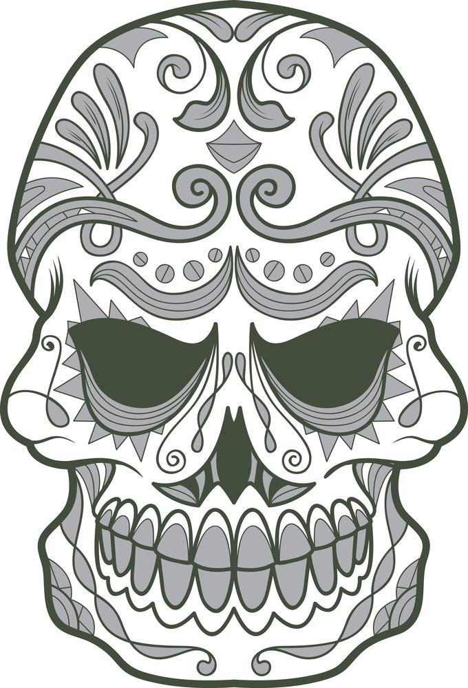 Vector T-shirt Design With Sugar Skull