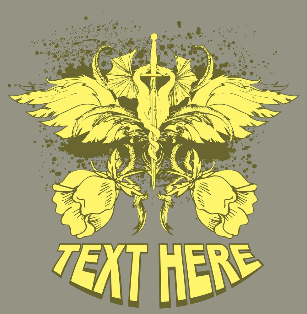 Vector T-shirt Design With Sword