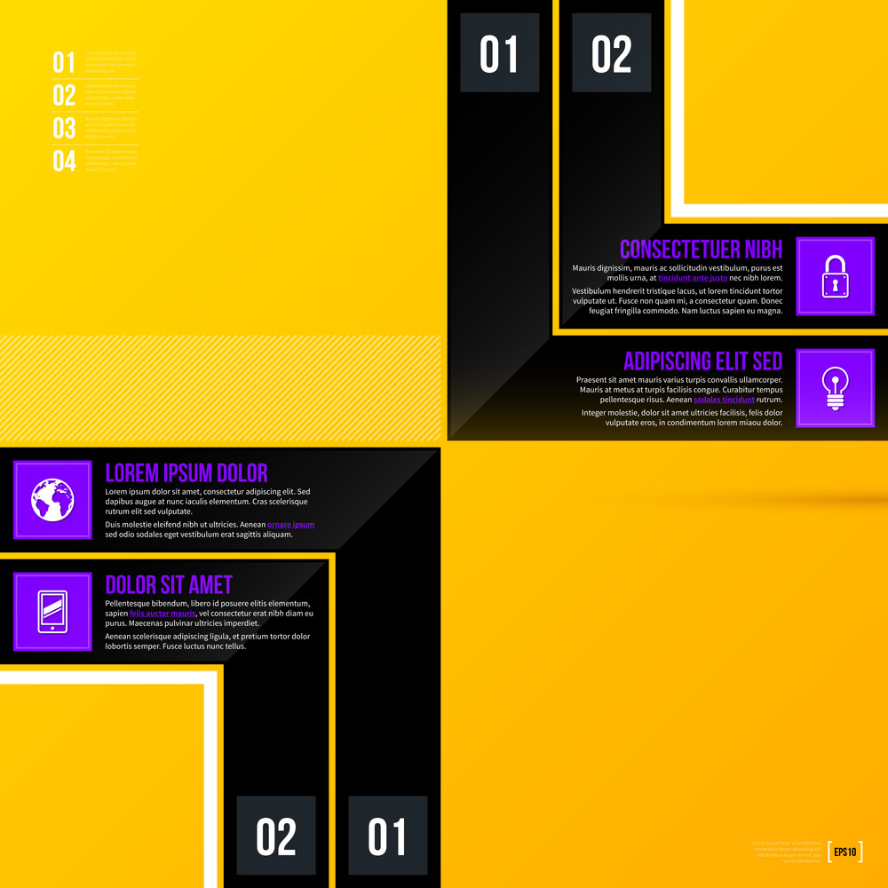 Vector Template With Four Options On Bright Yellow Background. Eps10