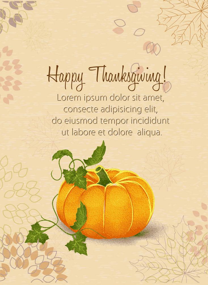 Vector Thanksgiving Illustration With Pumpkin