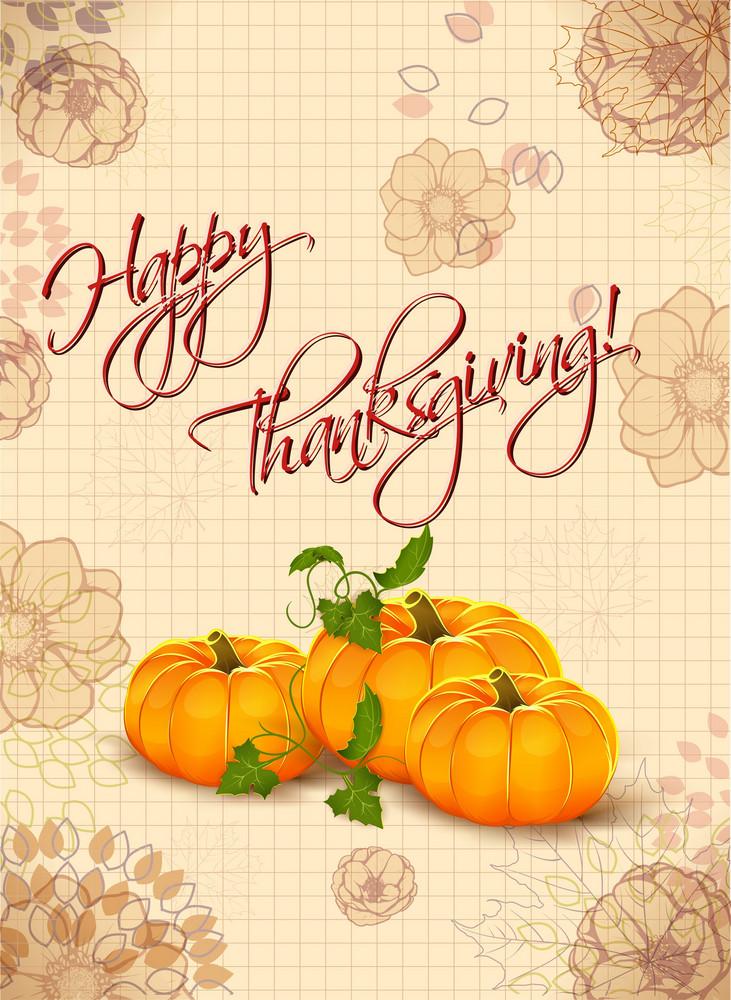 Vector Thanksgiving Illustration With Pumpkins