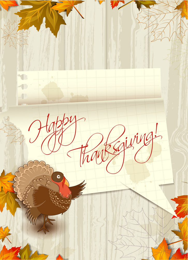 Vector Thanksgiving Illustration With Turkey