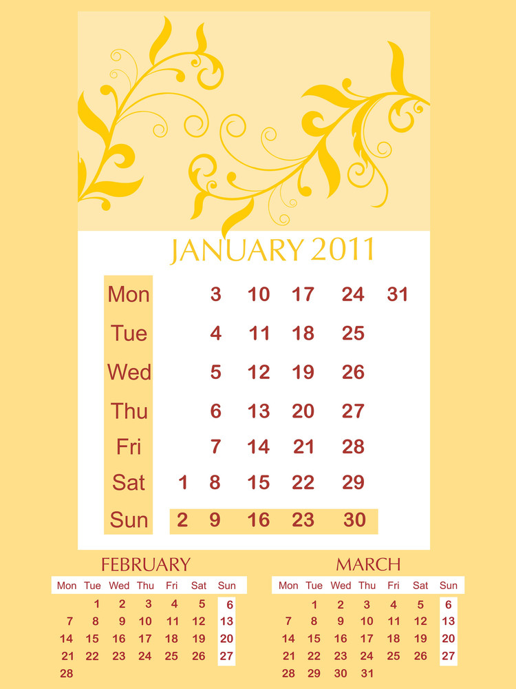 Vector Three Months Calendar