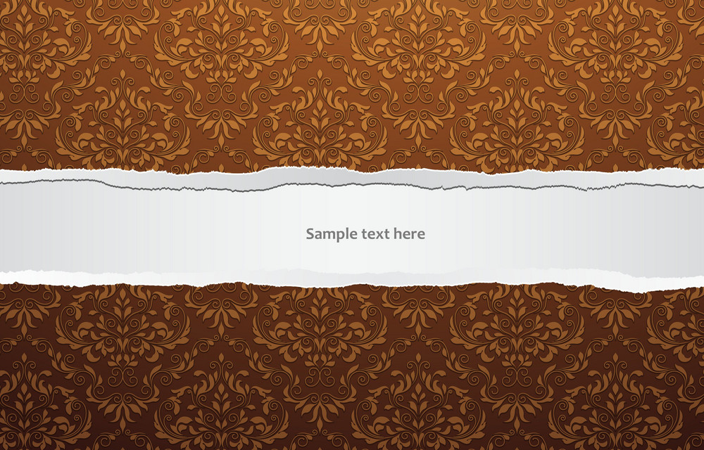 Vector Torn Cardboard With Damask Wallpaper