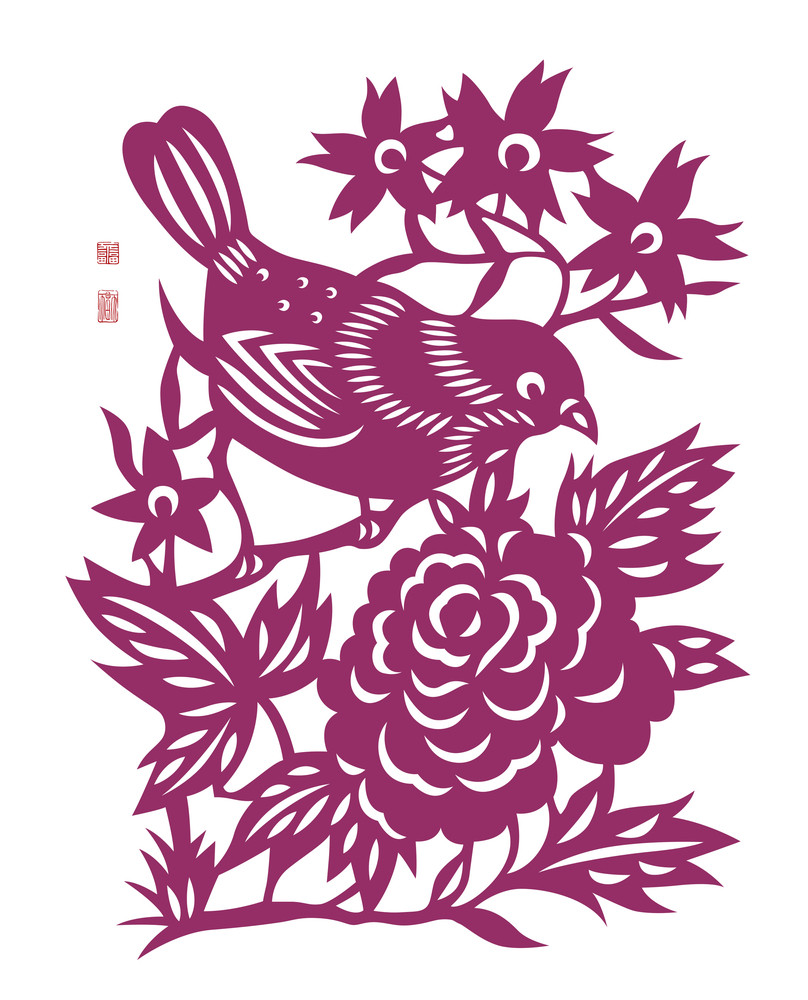 Vector Traditional Chinese Bird Paper Cutting