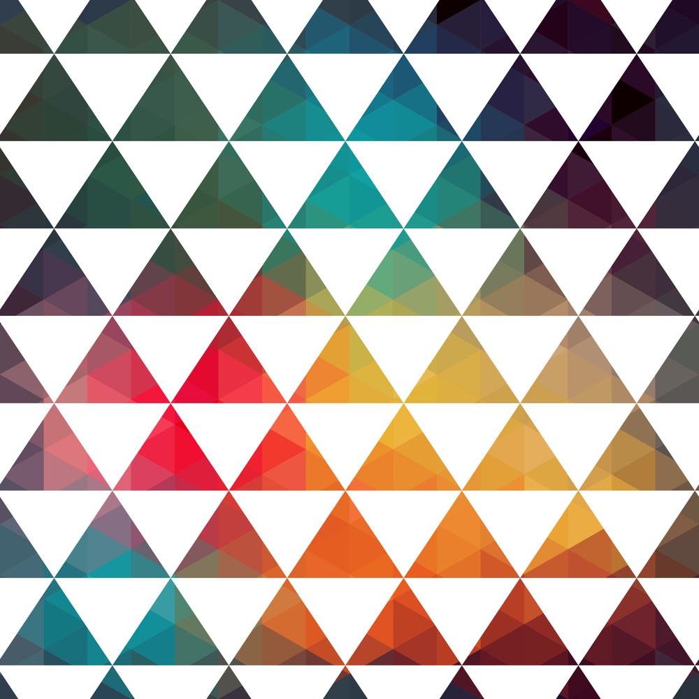 Vector Triangles Pattern. Modern Hipster Pattern. Colorful Texture In Hipster Style. Geometry Template. Grunge Pattern.retro Triangle Background. Bright Pattern