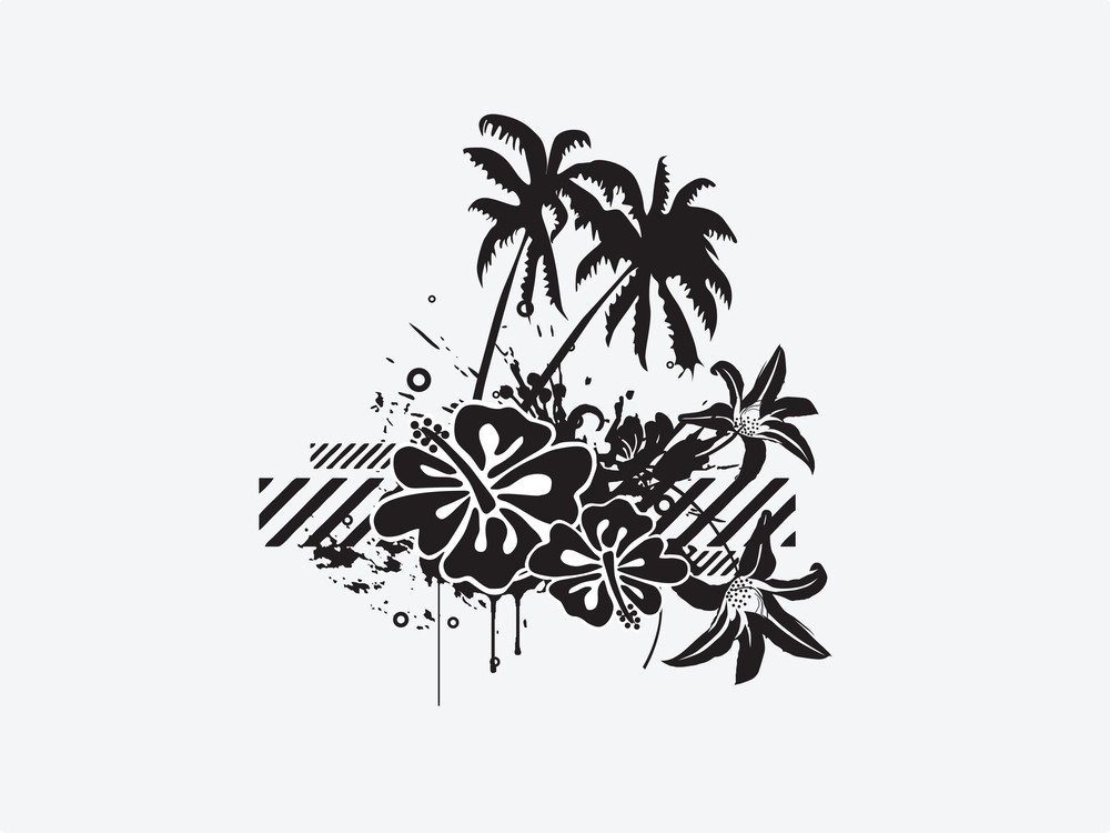 Vector Tropical Palm Trees And Nice Elements Isolated On White Background Illustration