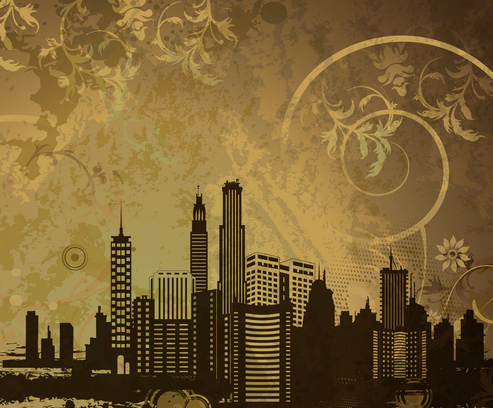 Vector Urban Illustration With City